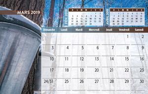 calendrier de bureau mois de mars