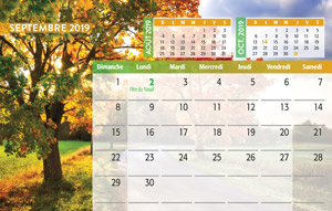 calendrier de table mois de septembre