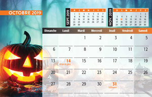 calendrier de table mois de octobre